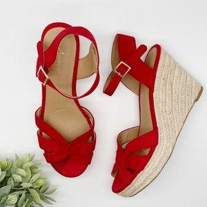 AEO Espadrille Platform Wedge Heel Sandal Red 8.5